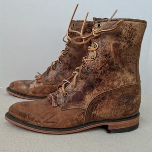 Justin Bent Rail Road Lacer Distressed Boots 9.5 B